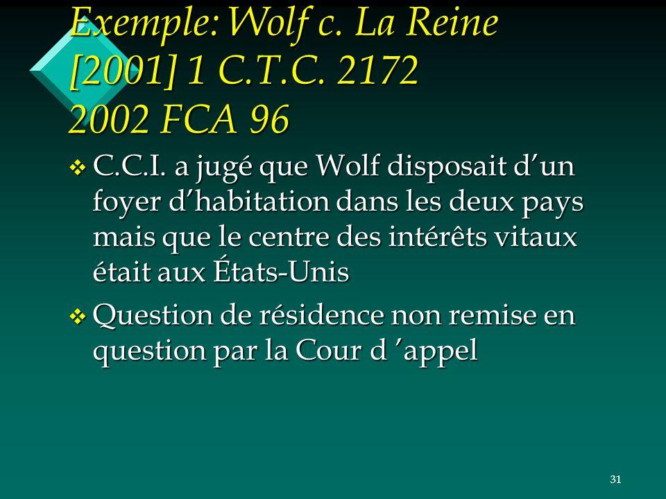 Exemple: Wolf c. La Reine [2001] 1 C.T.C. 2172 2002 FCA 96